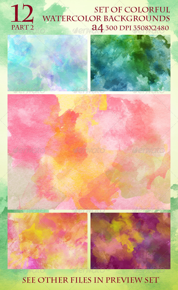 GraphicRiver Set of 12 Colorful Watercolor Backgrounds 2 5986934