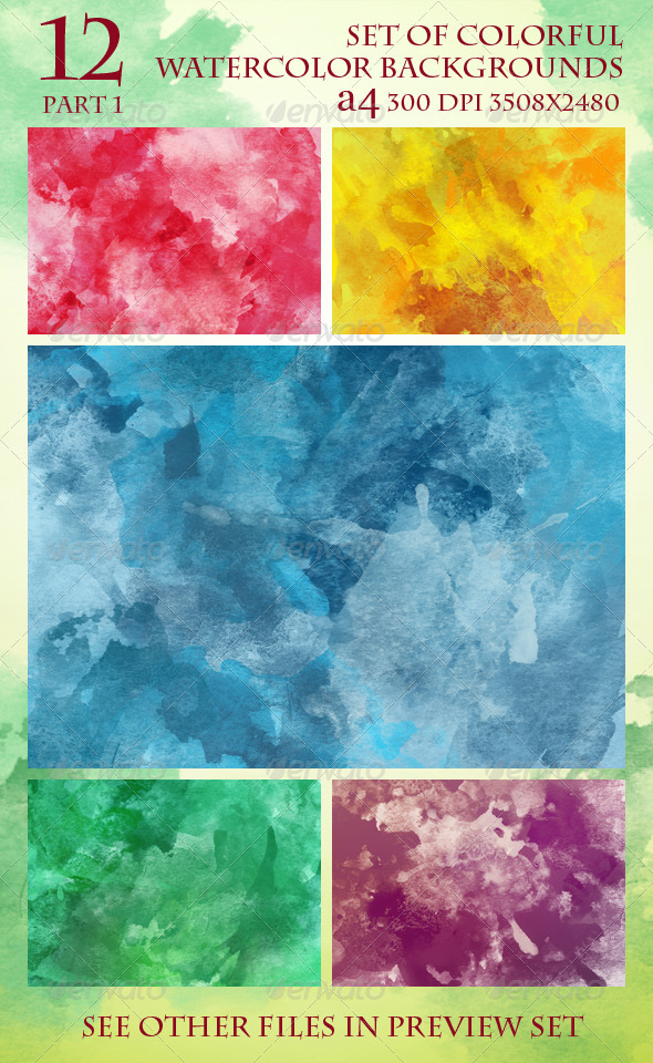 GraphicRiver Set of 12 Colorful Watercolor Backgrounds 1 5969956