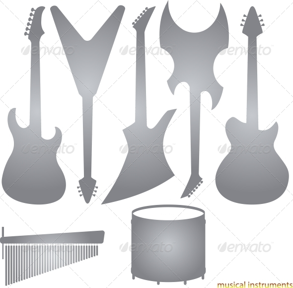GraphicRiver Music Instruments Silhouettes 5987124