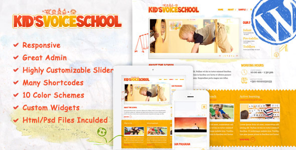 Kid's Voice School - Responsive WordPress Theme - Children Retail