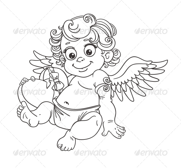 GraphicRiver Cupid with Candy Outline for Coloring 5988393