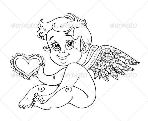 GraphicRiver Cupid with Valentine Outline for Coloring 5988403