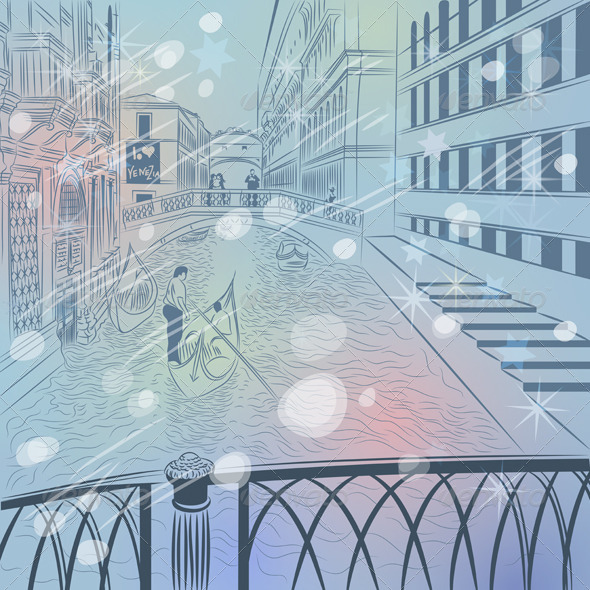Vector Venice Winter Christmas Cityscape - Buildings Objects