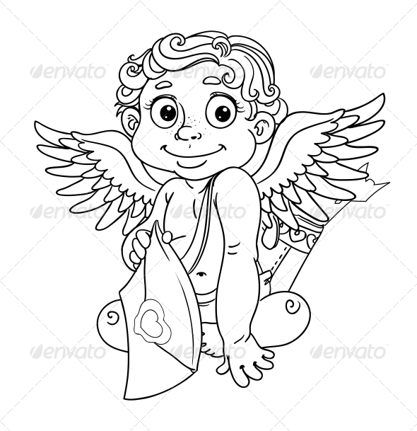 GraphicRiver Cupid with Love Letter Outline for Coloring 5988408