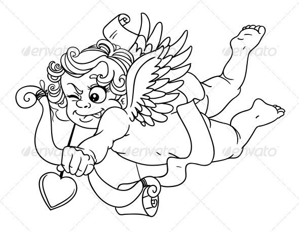 GraphicRiver Cupid with Outline for Coloring 5988414