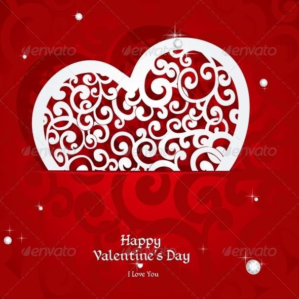 GraphicRiver Laced with Curls Applique Valentine Card 5988848