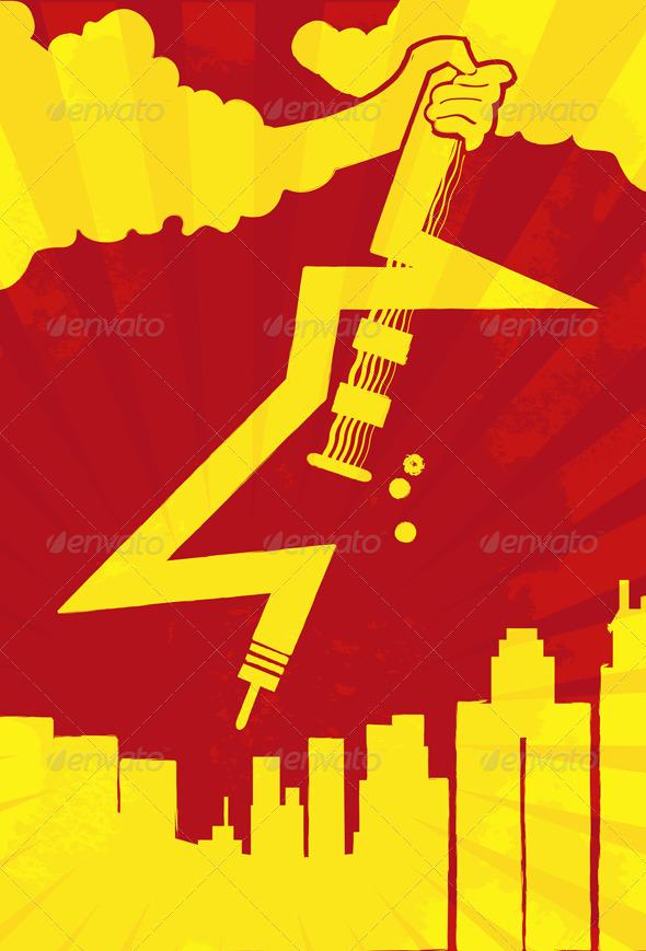GraphicRiver Lightning Guitar Rocking on City Concept 5989251