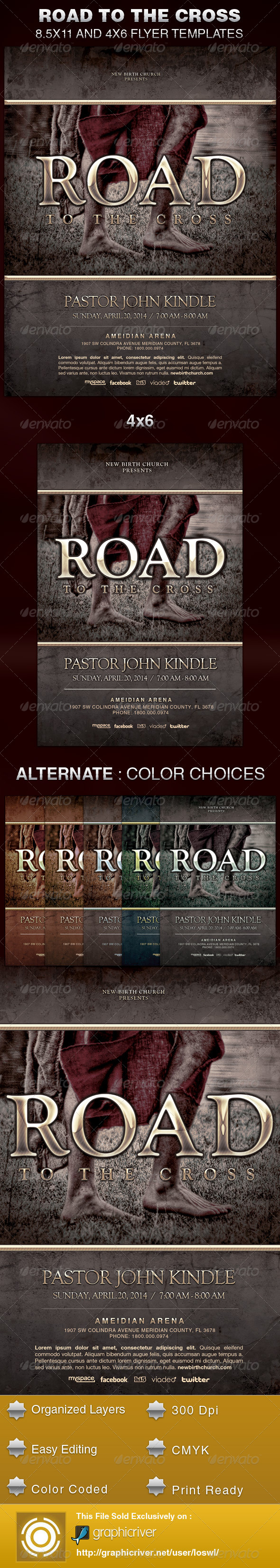 GraphicRiver Road to the Cross Church Flyer Template 5989447