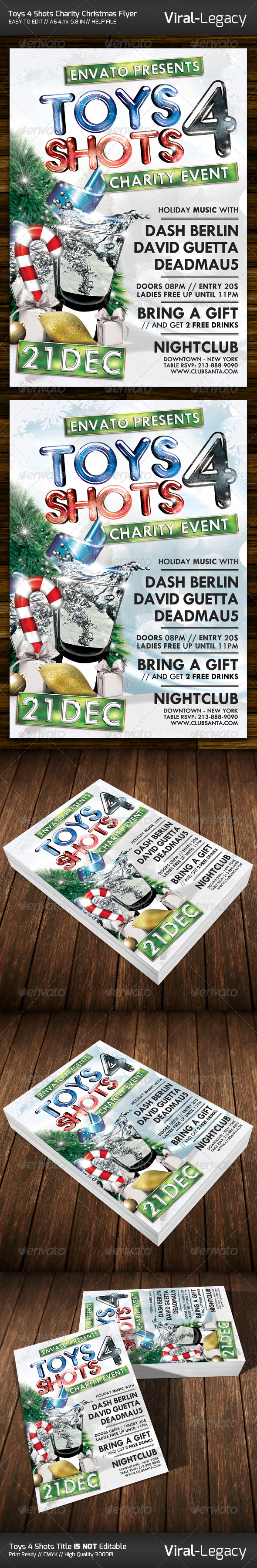 Toys 4 Shots Christmas Charity Flyer - Events Flyers