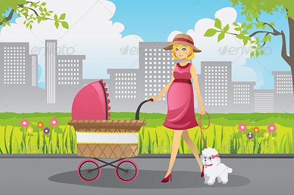 GraphicRiver Pregnant Woman Walking 5991206