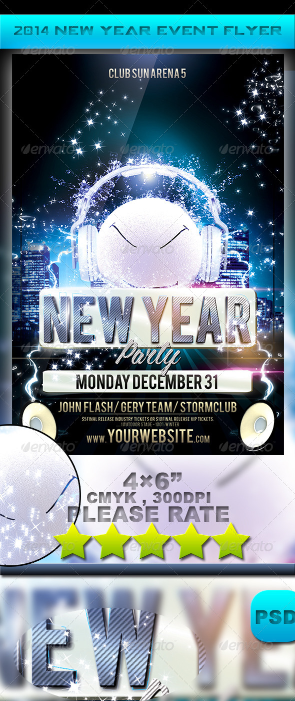 GraphicRiver 2014 New Year Event Flyer 5991214