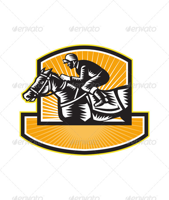 GraphicRiver Horse Racing Side Woodcut Retro 5991572