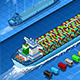 Isometric Cargo Ship with Containers in Navigation - GraphicRiver Item for Sale