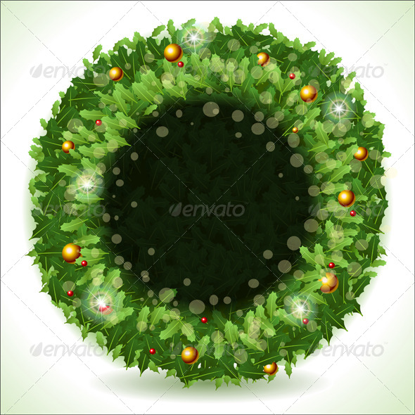 GraphicRiver Wreath Christmas with Black Placeholder 5991718