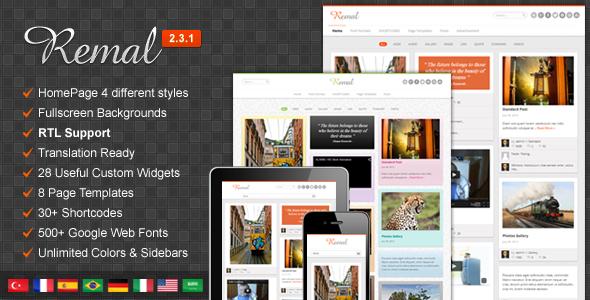 Remal - Responsive WordPress Blog Theme - Personal Blog / Magazine