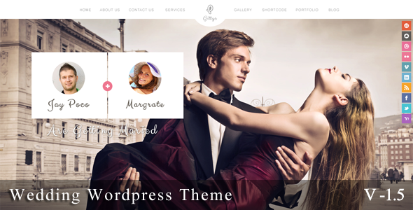 Gittys is a Wedding Event Wordpress Theme. It's super simple. It has a responsive design meaning your content will be displayed beautifully on all mobile