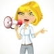 Girl Emotionally Shouts in a Megaphone - GraphicRiver Item for Sale