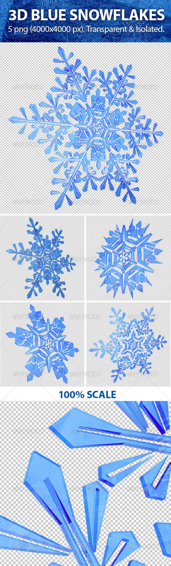 GraphicRiver 3D Blue Snowflakes 5980400