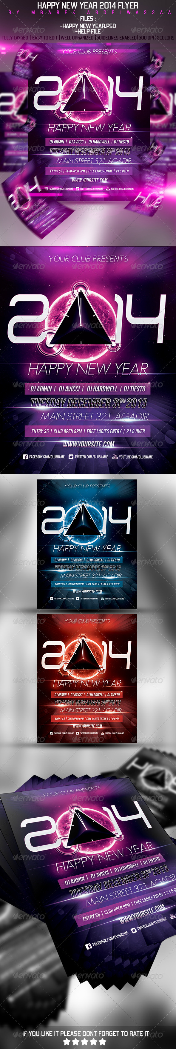 GraphicRiver Happy New Year 2014 Flyer 5996957