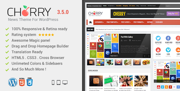 Cherry Responsive WordPress News, Magazine, Blog - News / Editorial Blog / Magazine