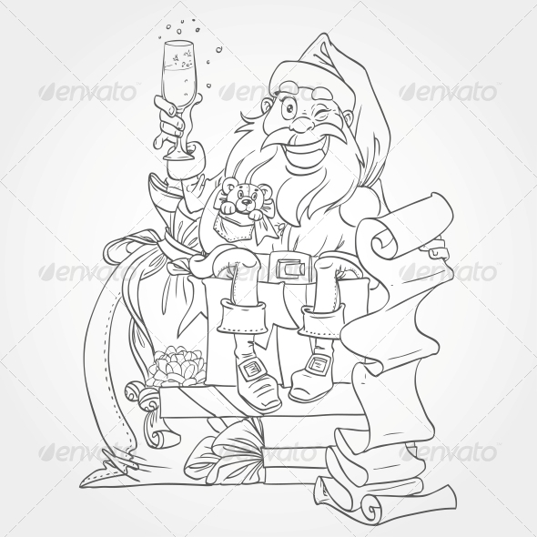 GraphicRiver Santa Claus Outline for Coloring 5997321