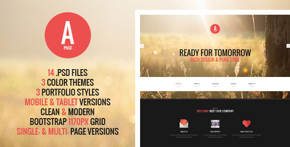 A-Page is a multipurpose PSD template with a lot of useful features. It suits for any type of portfolio, design studio, business, personal website etc. Main pag