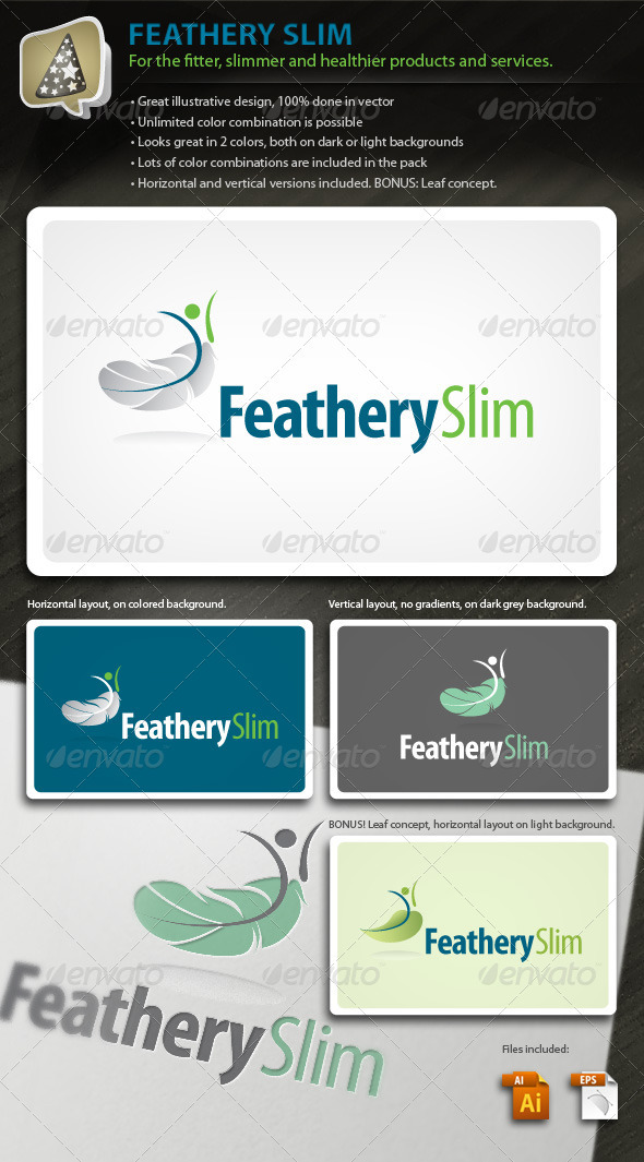 FeatherySlim - Health, Fitness and Wellness Logo - Humans Logo Templates
