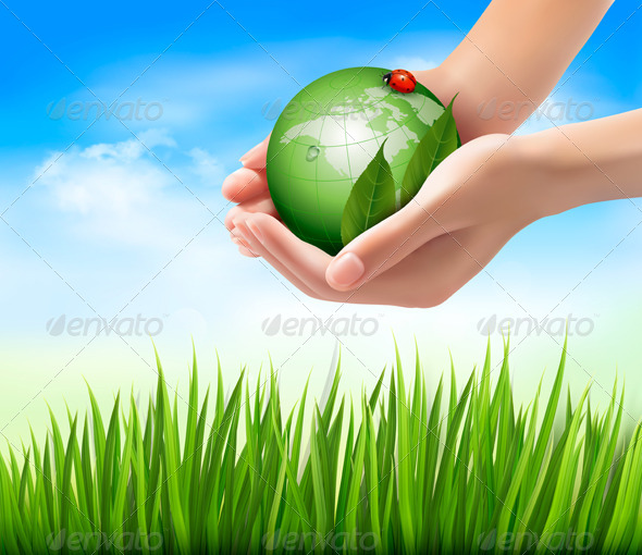 GraphicRiver Green World and Leaf have Love Bug in Hands 5997952