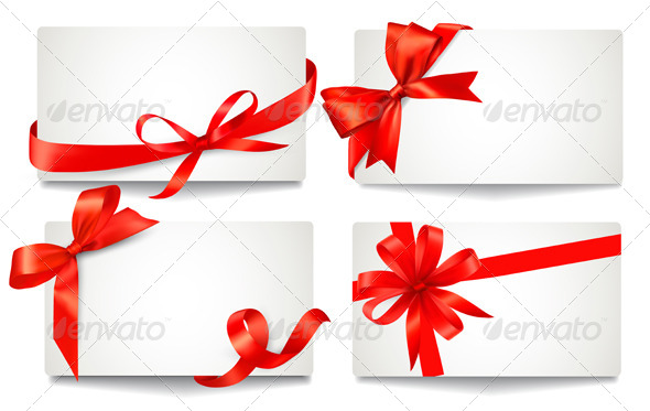 GraphicRiver Set of Gift Cards with Red Gift Bows 5997960