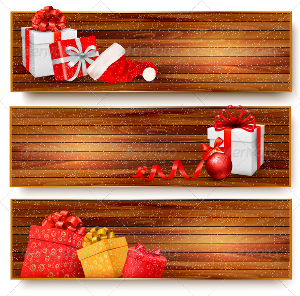 GraphicRiver Three Christmas Banners with Gift Boxes 5997972