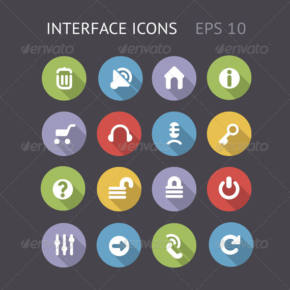 GraphicRiver Flat Icons For Interface 5999185