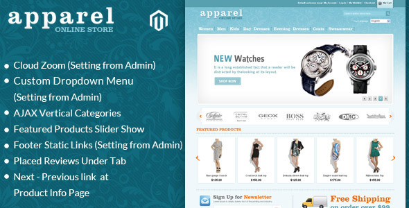 Apparel and Clothes Magento Template - Magento eCommerce