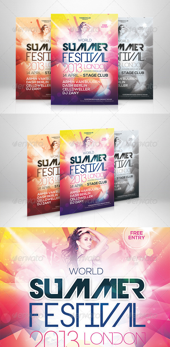 World Summer Festival Flyer Template - Clubs & Parties Events
