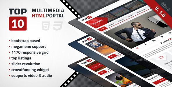 TOP 10 - Multimedia Tube  - Entertainment Site Templates