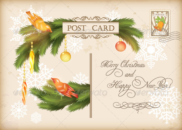 GraphicRiver Christmas Vintage Holiday Vector Postcard 6001286