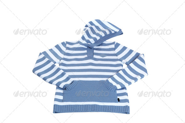 Woolen blue sweater on a white. - Stock Photo - Images