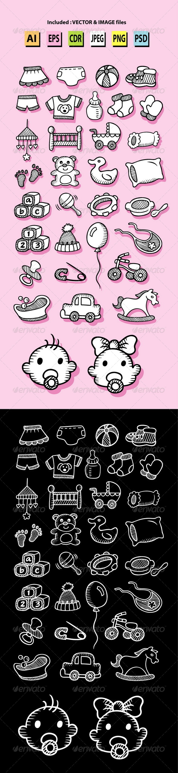 GraphicRiver Set of Baby Icon Sketches 6002857