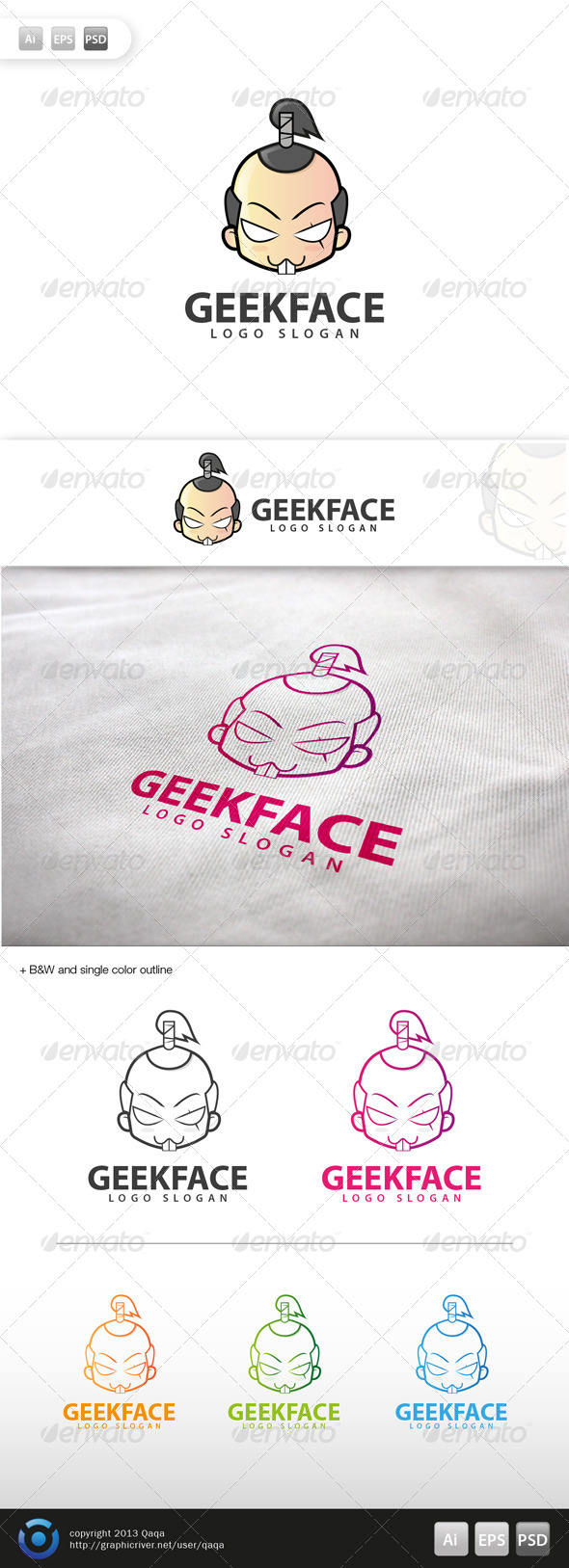 GraphicRiver Geek Face Logo 07 6003179