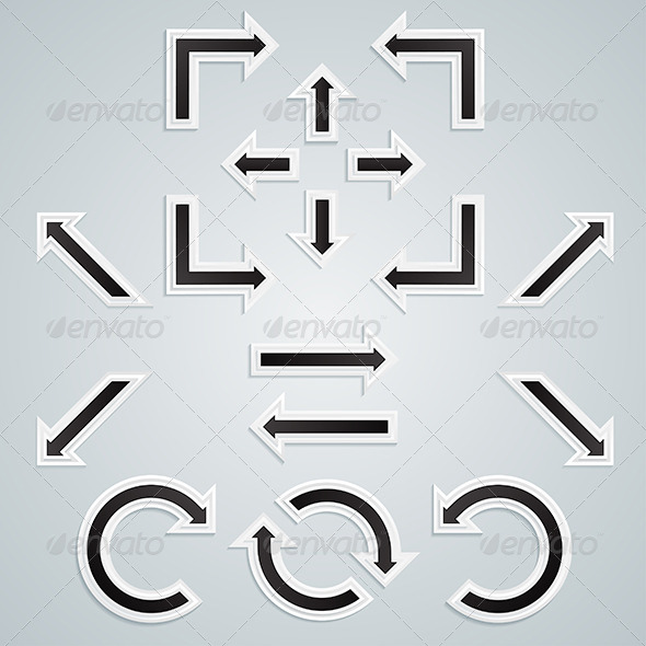 GraphicRiver A Set of Black Sharp Arrows for Infographics 6003546