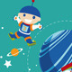 Cartoon Spaceman with Rocket - GraphicRiver Item for Sale