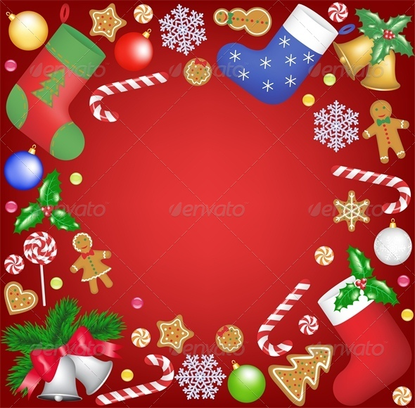 GraphicRiver Christmas Decoration and Sweets Frame 6004953