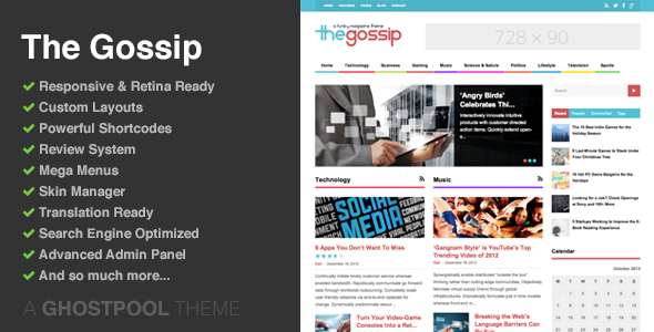 The Gossip: Funky Magazine WordPress Theme - Blog / Magazine WordPress