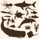 Vector Set of Sea Animals Silhouettes - GraphicRiver Item for Sale