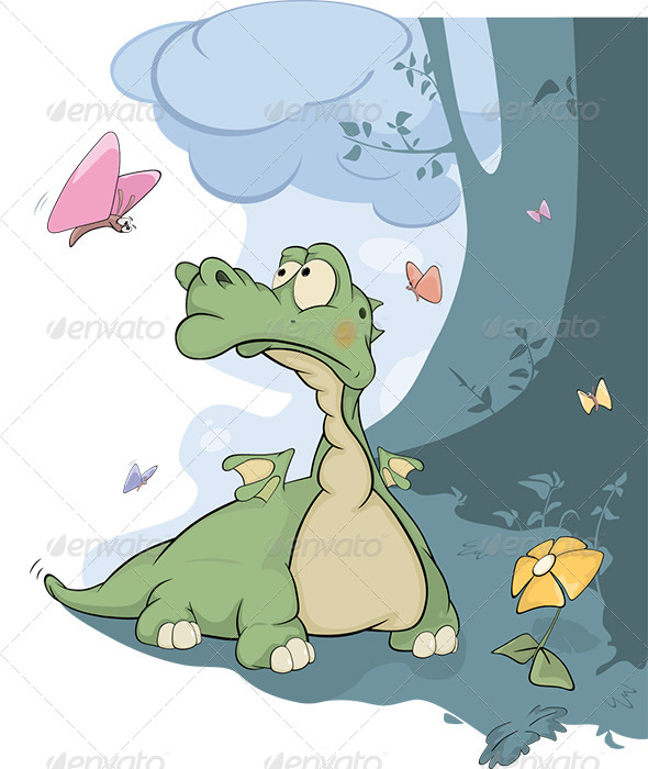 GraphicRiver Little Dragon and Butterflies Cartoon 6006402
