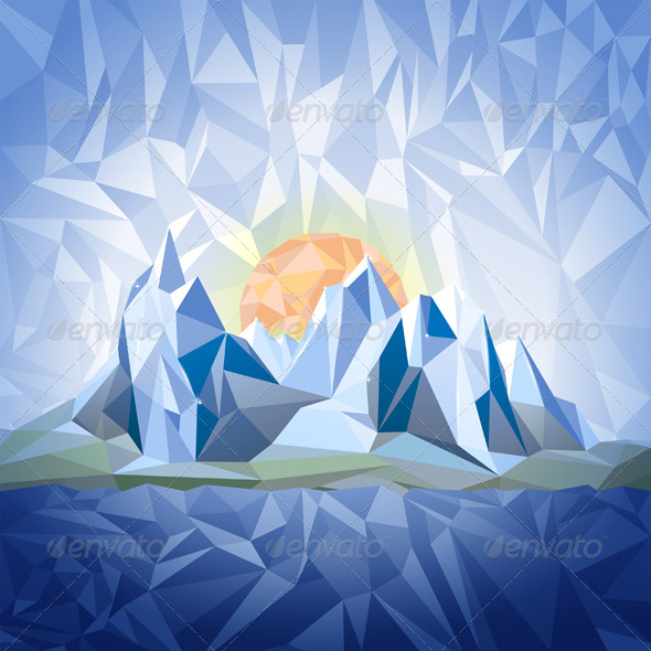 GraphicRiver Stylized Landscape in Origami Style 6006947