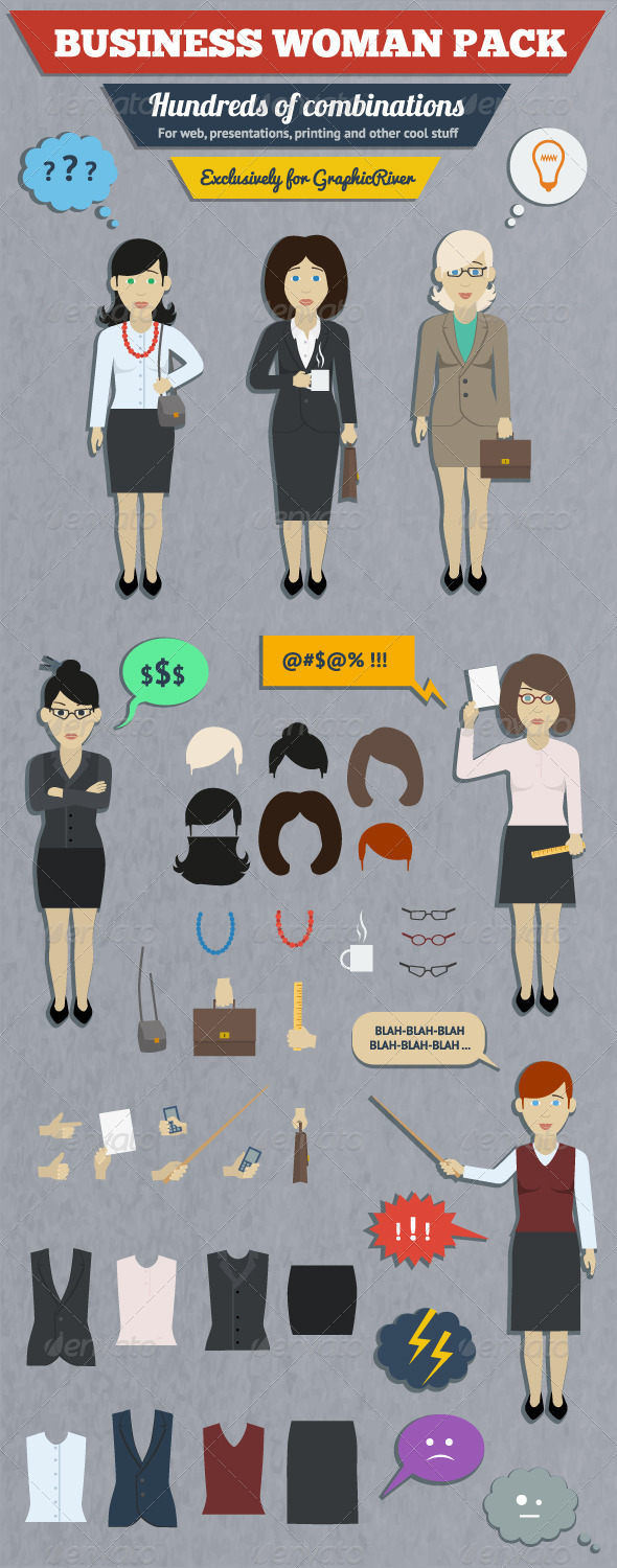 GraphicRiver Business Woman Characters Pack 6008730