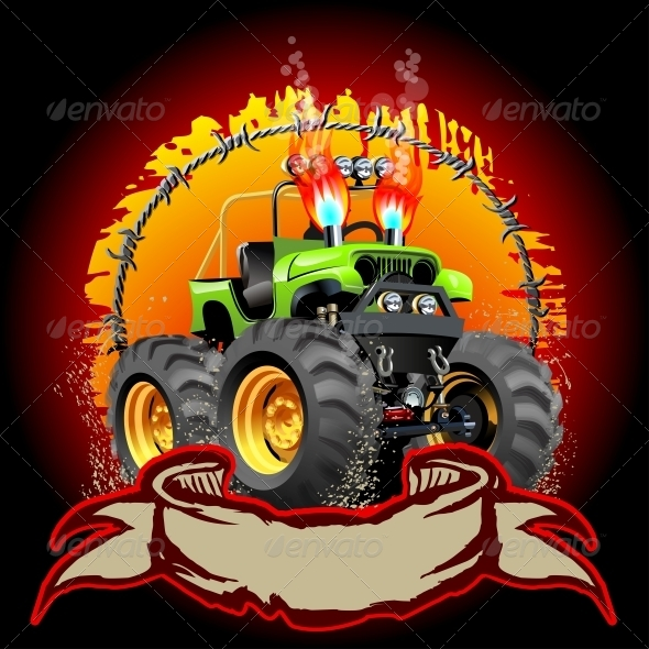 GraphicRiver Cartoon Monster Truck 6008940