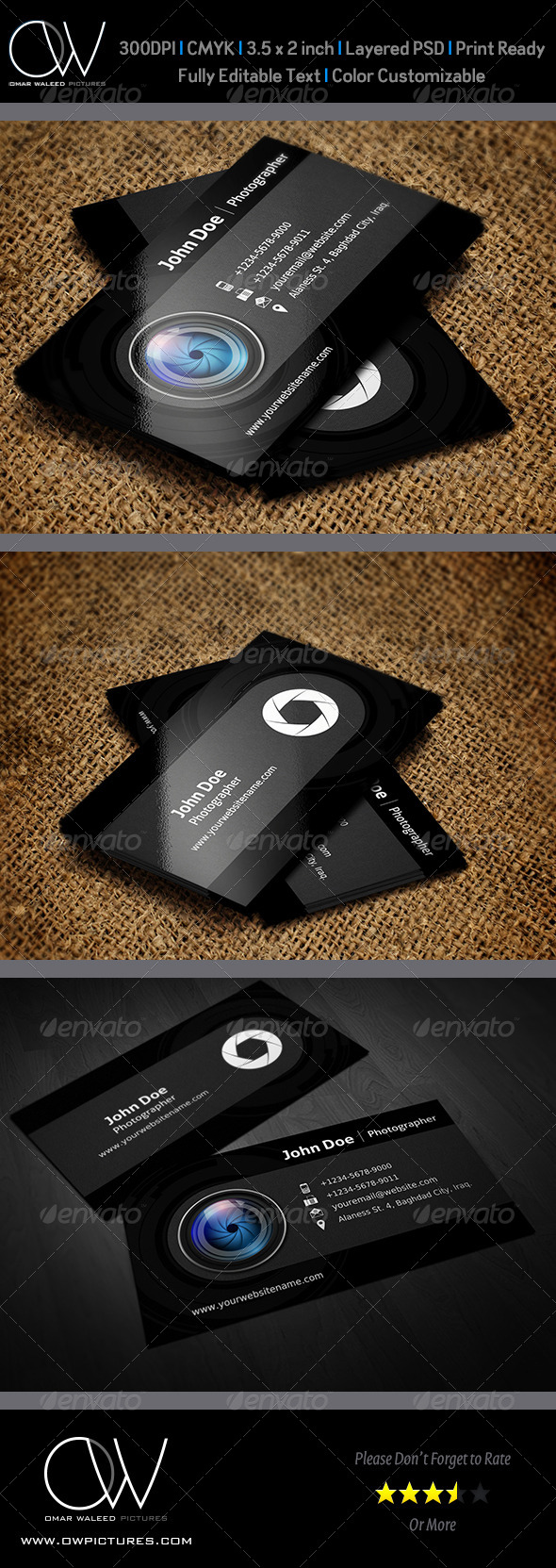 GraphicRiver Photographer Business Card Template Vol.3 6009377