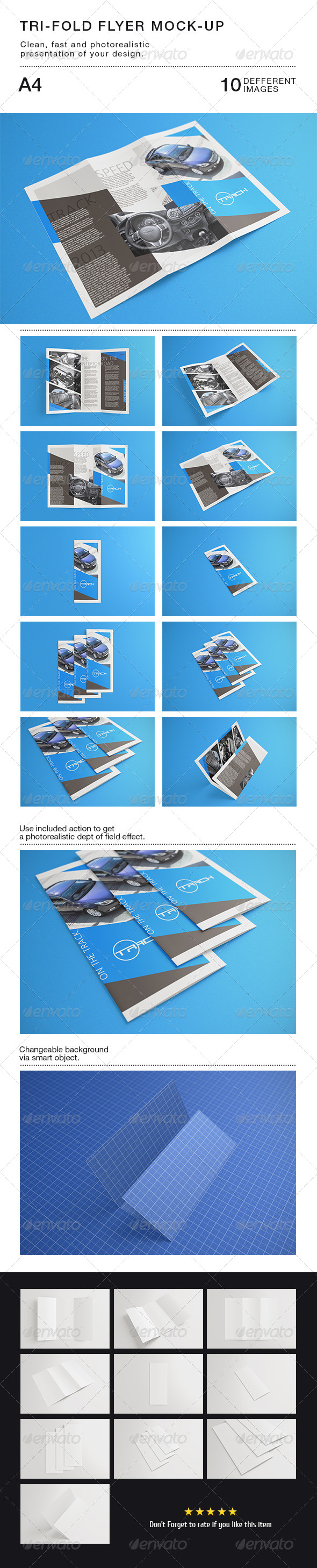 GraphicRiver Tri-fold Flyer A4 Mock-Up 6010358