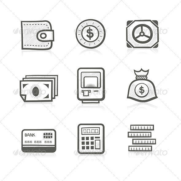 GraphicRiver Money Related Icon Set 6010545